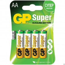 БАТАРЕЙКА GP SUPER ALKALINE ТИП AA LR6 ПАЛЬЧИКОВАЯ GP15A-2CR4 1.5V БЛИСТЕР 1 ШТ