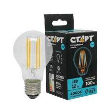 Лампа СТАРТ LED F- GLSE27 12W40 Филаментная лампа прозрачная колба